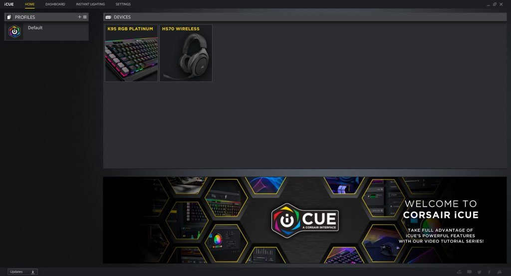 Corsair's iCUE software
